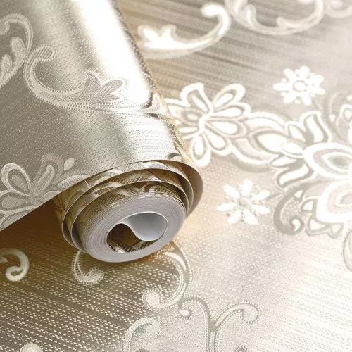 Papel de parede dourado metalizado brilhoso - rolo vinílico