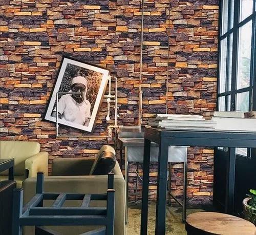 Papel de parede pedra tijolo canjica 3d sala quarto loja 3m