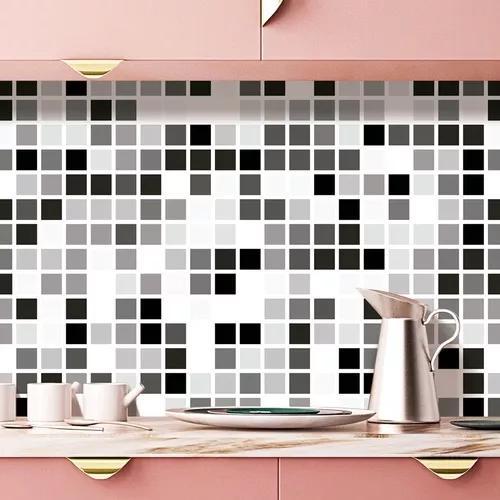 Papel parede decor cozinha pastilha preto cinza lavável