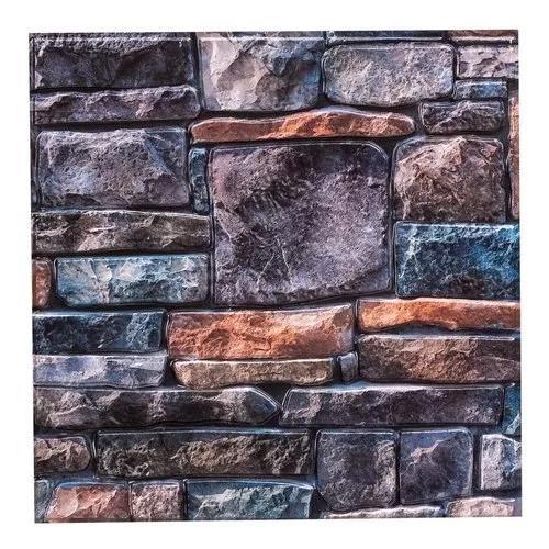 Placa 3d revestimento alto relevo pedras 33x33cm