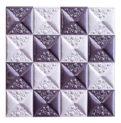 Placa 3d revestimento alto relevo pvc 50x50cm