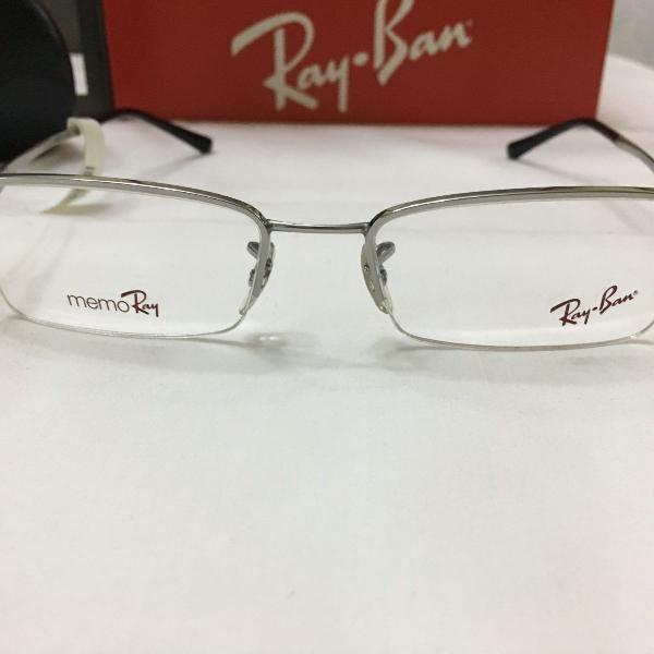 Armação óculos ray ban 7518 prata preto masculino