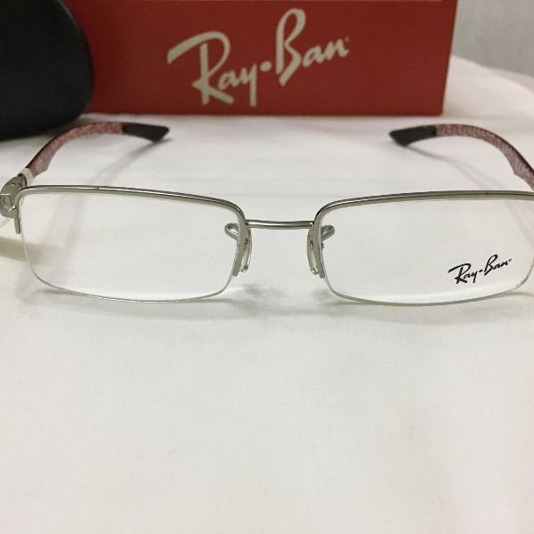 Armação óculos ray ban 8407 metal cinza masculino