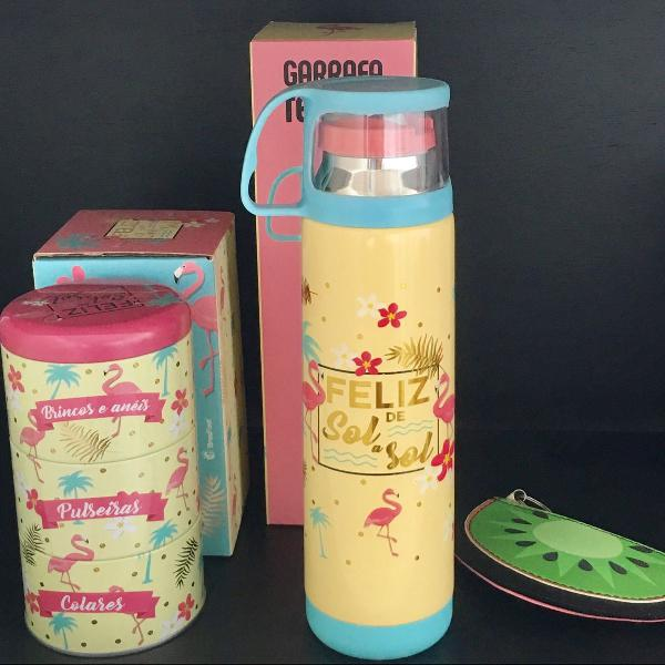 Kit flamingo garrafa térmica + porta joias (porta moedas de