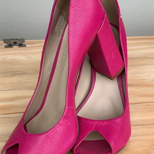 Peep toe couro rosa capodarte 36 novo