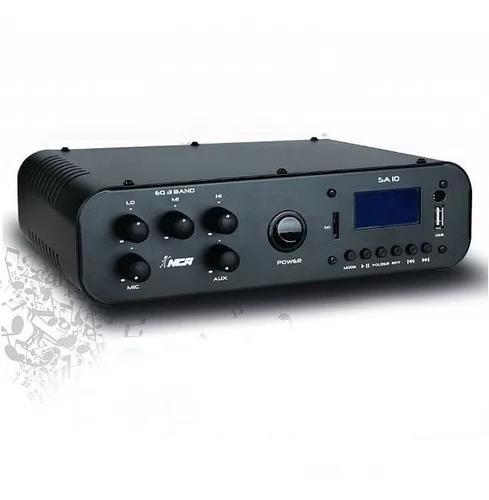 Amplificador ambiente nca sa10 30w fm/ usb até 08 caixas