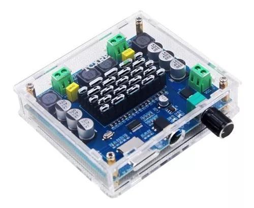 Amplificador de áudio c/ bluetooth 5.0 + box acrílico