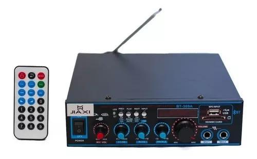 Amplificador receiver módulo som ambiente karaokê mp3