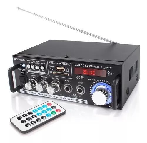 Amplificador áudio receiver 200w bluetooth fm usb karaokê