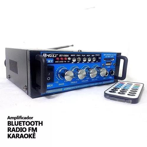 Amplificador áudio stereo bluetooth bt-188a karaokê fm mp3