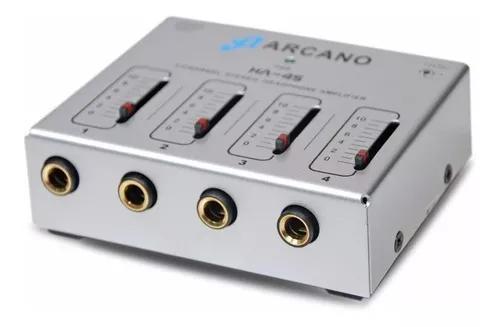 Compacto amplificador de fones arcano ha-4s p/ 4 fones bi-vo