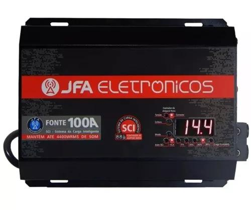 Fonte automotiva jfa 100a slim bivolt voltímetro digital
