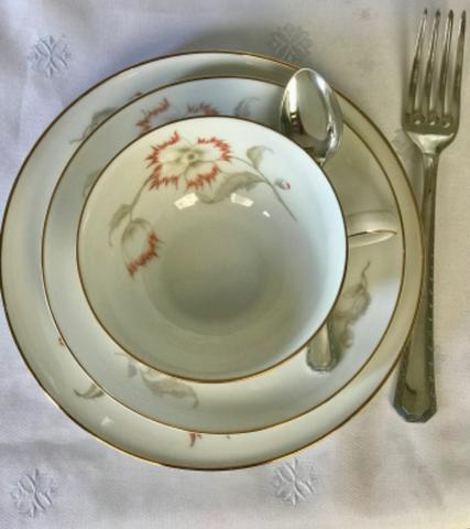 Jogo de chá, café e bolo em porcelana alemã