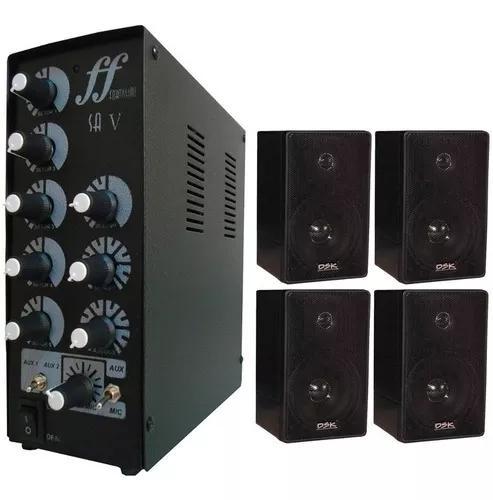 Kit 4 caixa som ambiente e 1 amplificador e setorizador