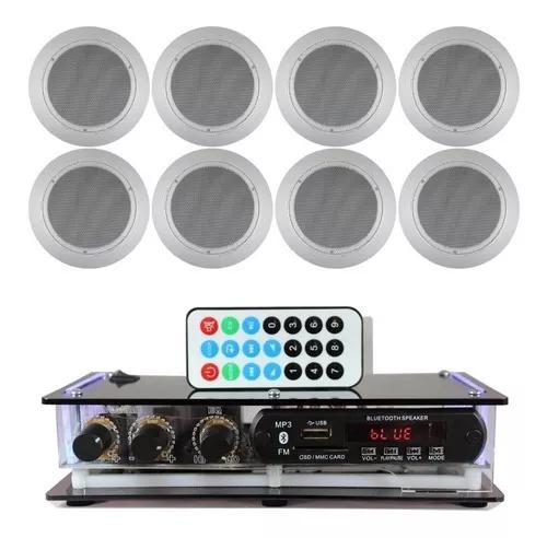 Kit som ambiente 2 amplificadores bluetooth+8 arandela gesso