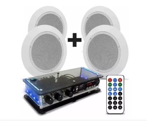Kit som ambiente amplif bluetooth usb fm + 4 caixas orion