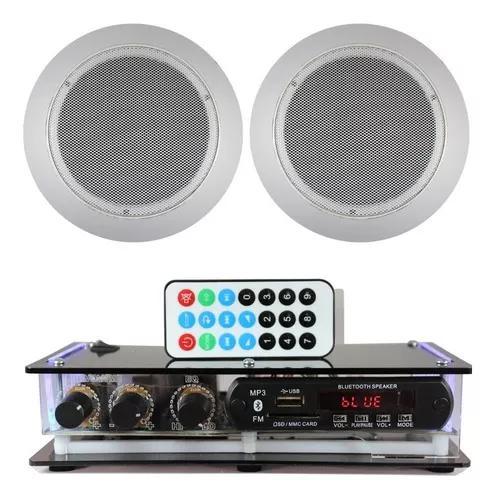 Kit som ambiente amplificador bluetooth + 2 arandelas gesso