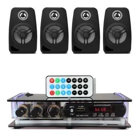 Kit som ambiente amplificador bluetooth + 4 caixas