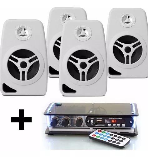 Kit som ambiente amplificador bluetooth e 4 caixas