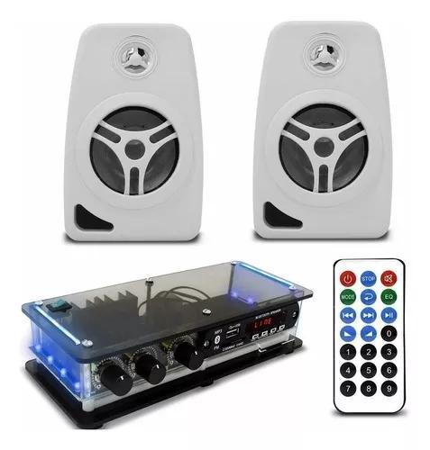 Kit som ambiente amplificador bt estéreo + caixa acústica
