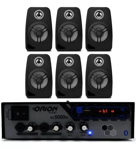 Kit som ambiente comercial rc5000 bt + 6 caixa acustica 55w