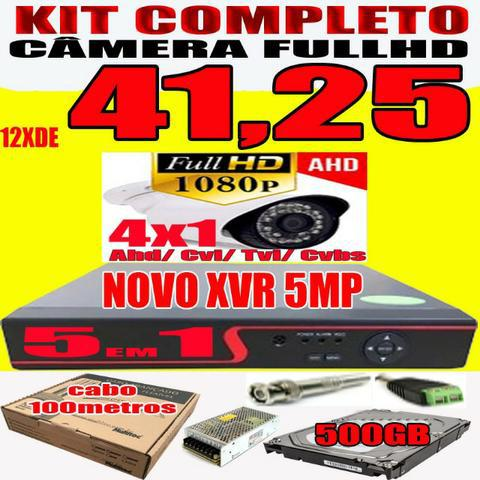 Kit completo câmera ahd 1080p full hd 1/3 2.0 mp blidada de