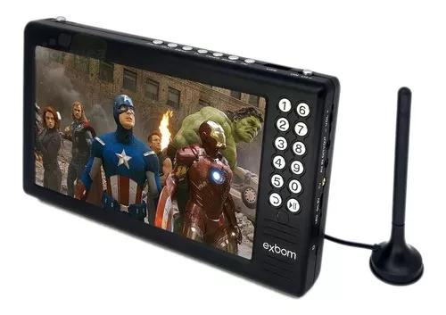 Mini tv digital portátil tela 7 hd sd usb fm antena