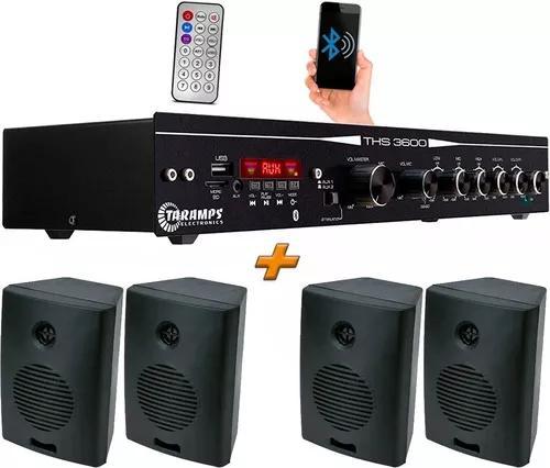 Receiver taramps ths 3600 usb bluetooth + 4 caixa acústica