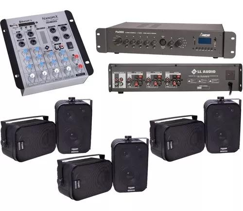 Som ambiente 6 setores mesa som nca + amplificador +6 caixas