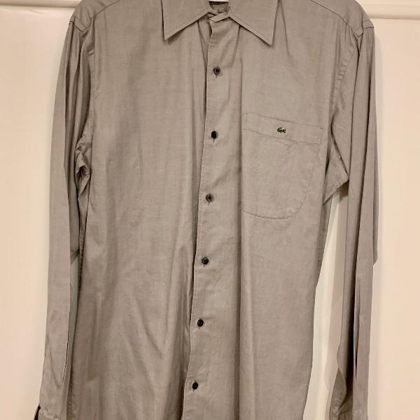 Camisa social masculina cinza - lacoste original!!!