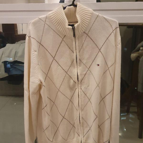 Casaco de lã tommy hilfiger branco com detalhes em bege