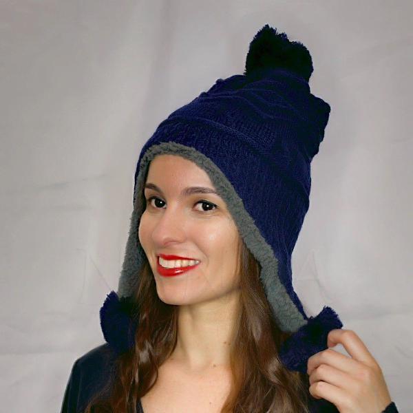 Gorro azul marinho peluciado tapa orelhas