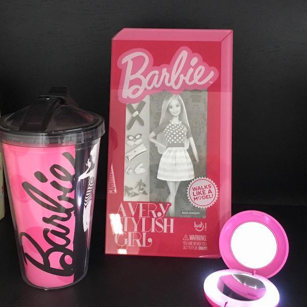 Kit barbie: copo com canudo barbie + porta retrato barbie +