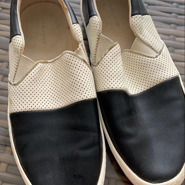 Sapato slip on zara men branco/preto
