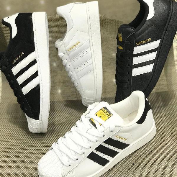 Tênis adidas super star branco preto