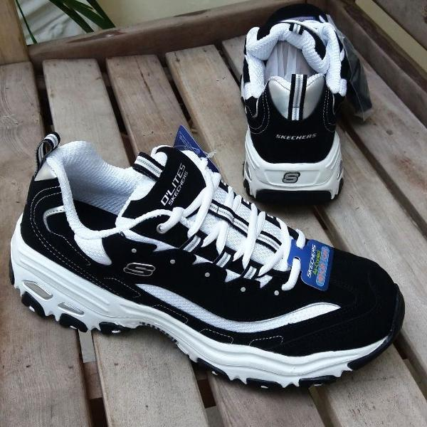 Tênis skechers d'lites preto dad shoes chunky anos 90