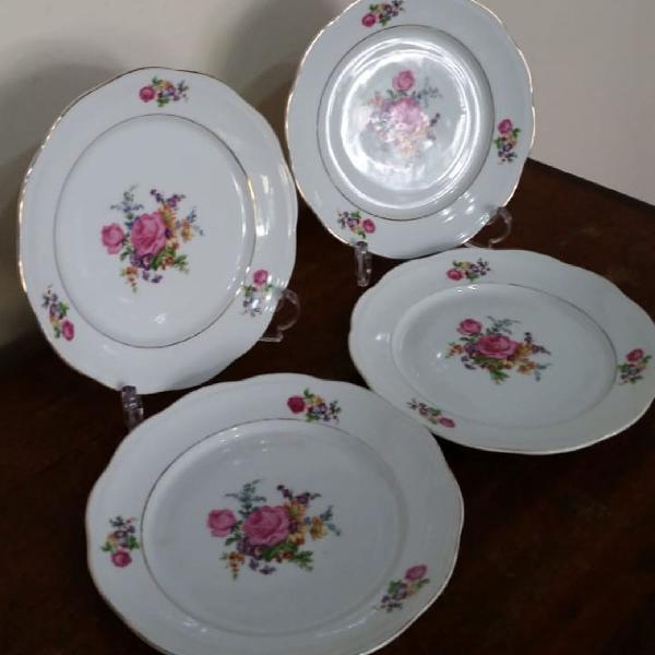 4 pratos de sobremesa porcelana steatita