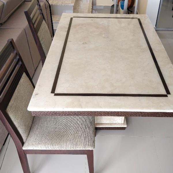 Mesa mármore travertino 1,40 x 0,90 com 4 cadeiras