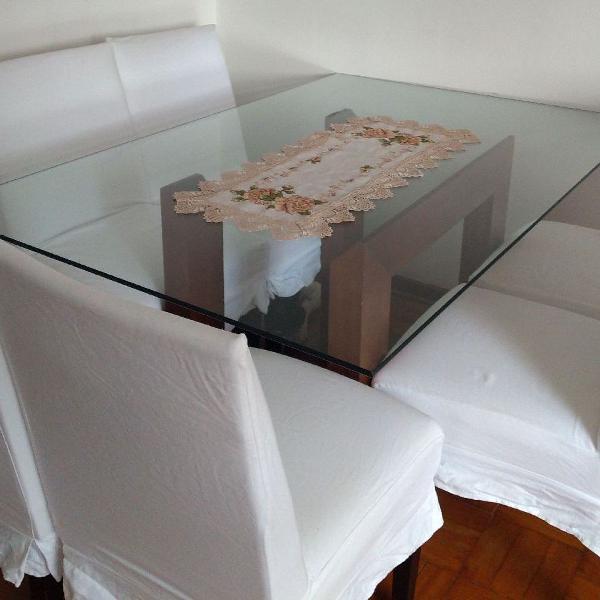Mesa vidro com 6 cadeiras