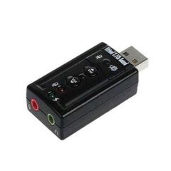 Adaptador de som usb 7.1 canais 2 entradas