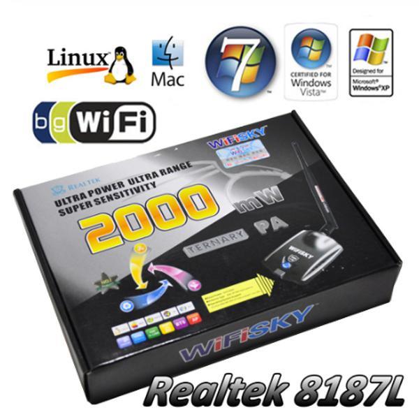 Adaptador wifi externo usb - wifisky 2000mw - antena 6dbi