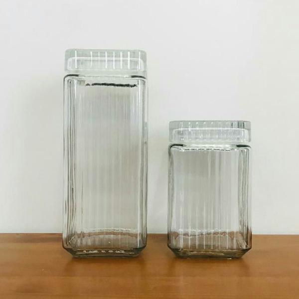 Conjunto potes de vidro hermeticos