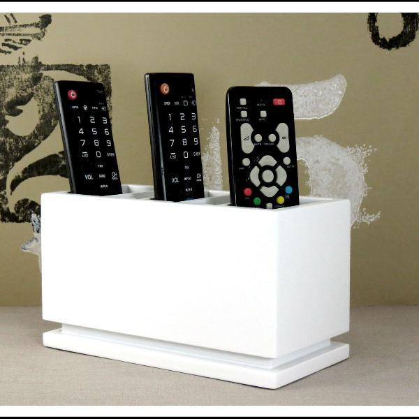 Porta controle remoto tv sala cor branco 5 divisórias