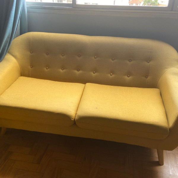 Sofá de 3 lugares jobi amarelo 174cm