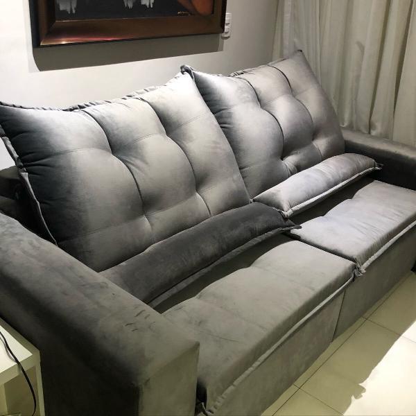 Sofá retrátil 3 lugares, retrátil e reclinável veludo