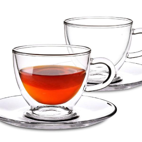 Xícara de chá em vidro com pires 6 pcs!