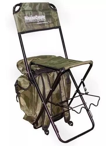 Cadeira pesca dobrável com mochila e porta varas até 125kg