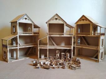 Casinha de boneca com móveis feita em mdf