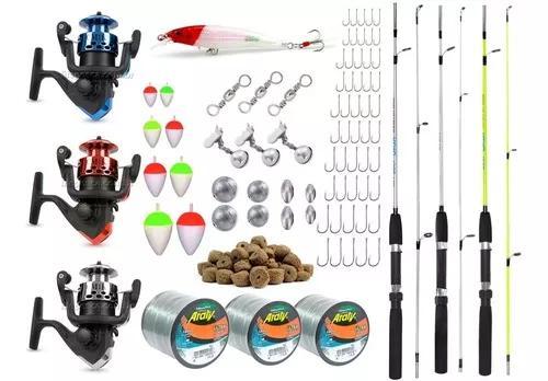 Conjunto p/ pesca completo 3 varas 3 molinetes - 81 itens