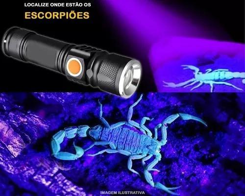 Escorpião lanterna caçadora led luz negra recarregável